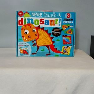 Never touch a dinosaur book and puzzle.